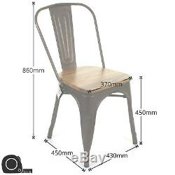 Set of 4 Gun Metal Grey Industrial Dining Chair Kitchen Bistro Cafe Vintage Seat
