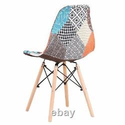 Set of 4 Patchwork Fabric Dining Chairs Padded Seat Wooden Legs Home Furniture