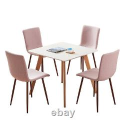 Set of 4 Pink Dining Chairs Fabric Padded Seat Metal Legs Home Office Lounge BN