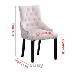 Set of 4 Pink Velvet Knocker Dining Chairs Accent Chair Tufted Dining Room Home