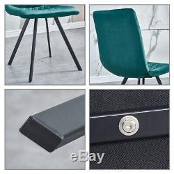 Set of 4 Velvet Dining Chairs High Back Metal Legs Kitchen Dining Room Green UK