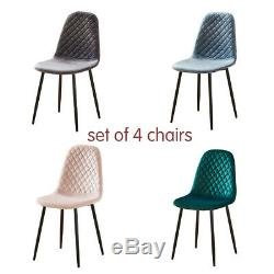 Set of 4 Velvet Dining Chairs Lounge Chairs Dining Room Kitchen Grey Green Blue
