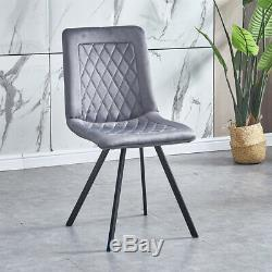 Set of 4 Velvet Dining Chairs Lounge Metal Leg Padded Dining Room Kitchen Office