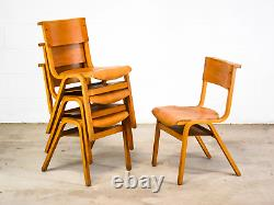 Set of 4 Vintage Mid Century Plywood Stacking School Kitchen Chairs