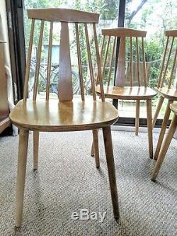 Set of 4 Vintage ZPM Radomsko Kitchen Dining Chairs mid century teak wood
