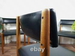 Set x 4 Vintage 60's Teak & Black Vinyl Dining Chairs Mid-Century Danish Scandi
