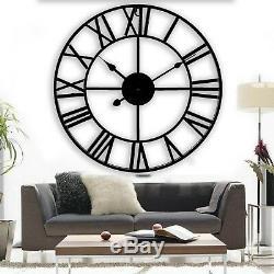Skeleton Indoor Outdoor Garden Wall Clock Roman Numerals Giant Open Face Metal