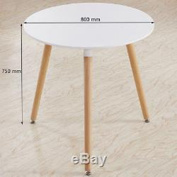 Small Round Wood Dining Table set &4 Seats Retro Linen Chairs Metal Wooden Legs