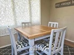 Solid Oak Vintage Grey Extending Dining Table 4 Chairs Grey Up-Cycled Painted