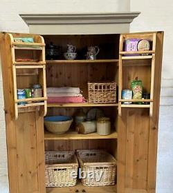 Solid Pine Vintage Kitchen Pantry Larder Cupboard Spice Racks