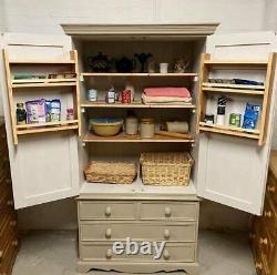 Solid Pine Vintage Kitchen Pantry Larder, Housekeepers Cupboard Spice Racks