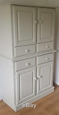 Solid Pine Vintage Kitchen Pantry Larder Linen Cupboard