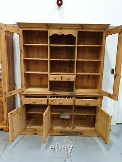 Solid Pine Welsh Dresser Vintage Retro Display Kitchen Cabinet