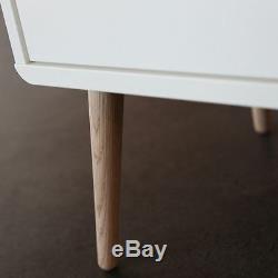 Steens Soft Line Designer Modern Retro 3 Drawer Wide Chest in White & Oak