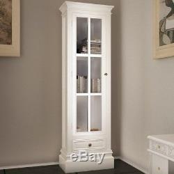 Storage Cabinet White Glass Display Chests Book Shelf Set Shabby Distressed