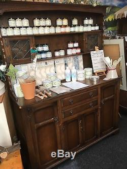 Stunning Vintage Welsh Dresser With Plate Grooves & Leaded Glass Shabby Chic