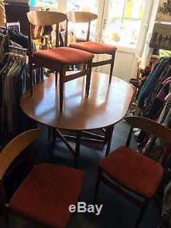 TEAK DINING TABLE & 4 CHAIRS MID CENTURY Folding Jentique 1960 s Vintage