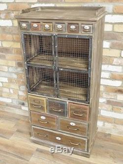 Tall Cabinet Drawers Cupboard 135cm Retro Vintage