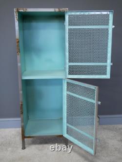 Tall Industrial Cabinet Rustic Metal Cupboard Vintage Retro Display Storage Unit