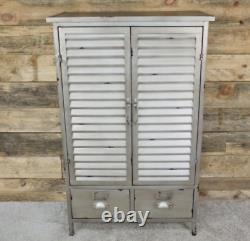 Tall Industrial Cabinet Vintage Retro Cupboard 2 Door Storage Rustic Metal Shelf