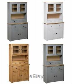 Tall Kitchen Larder Rustic Solid Wood Storage Dresser Cabinet Cupboard Pantry