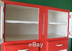 Tall Red Retro Kitchen Cupboard, Larder, Cabinet, Worktop, Refurb, Mid Century