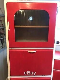 Tall Vintage Kitchen Cupboard Larder Unit Red 1960's