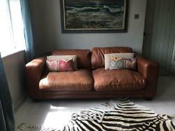 Tan Leather Brown buffalo leather sofa extra large, pair available