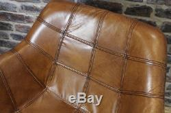 Tan Leather Vintage Style Kitchen Dining Room Chair Bucket Armchair The Chepstow