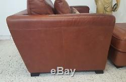 Tan Weathered Leather Club Chair Armchair Courier Available