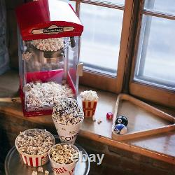 Throwback 60030 Vintage Movie Theater Kettle Style Popcorn Maker Machine, Red