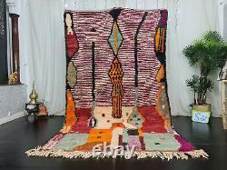Tribal Boujad Handmade Moroccan Rug 5'5x9'1 PatchworkPurple Berber Wool Carpet