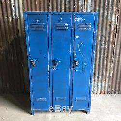 Triple Industrial Vintage Lockers, Factory Loft Funky Retro 3 Door Wardrobe #5