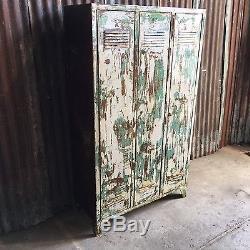 Triple Industrial Vintage Lockers, Upcycled Reworked Funky Retro 3 Door Storage