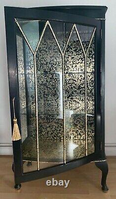 Upcycled Vintage Black and Gold drinks/gin Display Cabinet (glass and wood)