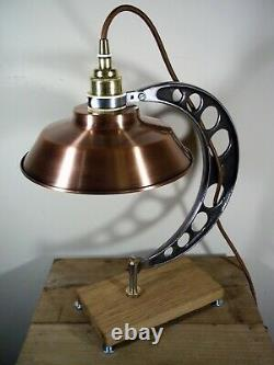 Upcycled Vintage/Retro Copper Industrial/Steampunk/Aviator Table/Desk Lamp/Light