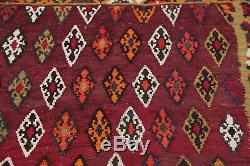 VINTAGE Geometric Burgundy Kilm Kashkoli Flat-Woven Area Rug Wool Carpet 5'x8