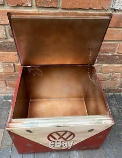 VW Camper Van Drinks Cooler Ice Box Vintage Retro Style Metal Red