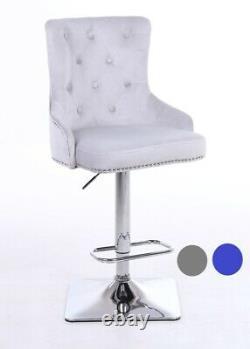 Velvet Swivel Bar Stool Button High Back Kitchen/Dining/Breakfast Chair Seat
