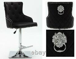 Velvet Swivel Gas Bar Stool Button High Back Kitchen/Dining/Breakfast Chair Seat