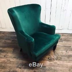 Velvet Wingback Chair Lounge Furniture Accent Armchair Emerald Green Velvet