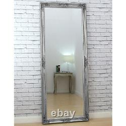 Verona Full Length Silver Shabby Chic Leaner Wall Mirror 72 x 29 6ft Tall