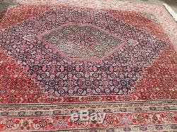 Very large antique vintage rug carpet wool 196 X 251 pers ain BIDI-JAR