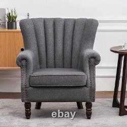 Victorian Retro Wing Back Armchair Accent Oyster Fireside Sofa Lounge Tub Chair