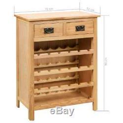 VidaXL Solid Oak Wood Wine Cabinet Drink Bottle Storage Organiser Holder Rack