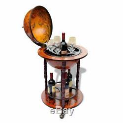 VidaXL Wooden Globe Bar Wine Stand Antique Retro Style Drink Bottle Organiser
