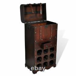 VidaXL Wooden Wine Rack for 9 Bottles with Storage Drink Bar Cabinet Holder