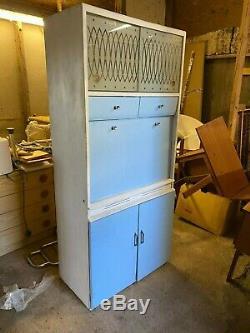 Vintage 1950's 60's Remploy Blue White Kitchen Larder Cabinet Cupboard Drawers