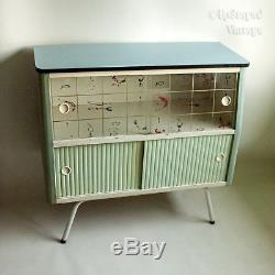 Vintage 1950s Blue Formica Topped Free Standing Kitchen Unit Cocktail Cabinet