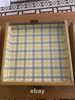 Vintage 1950s Yellow kitchen table with drawers, Farmhouse Retro